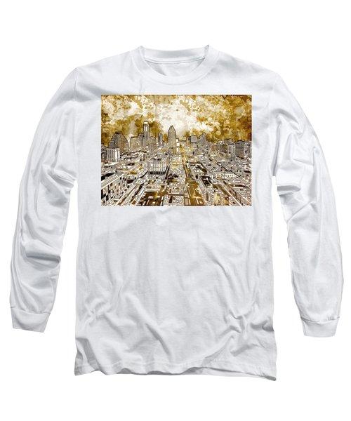 Austin Texas Abstract Panorama 6 Long Sleeve T-Shirt by Bekim Art
