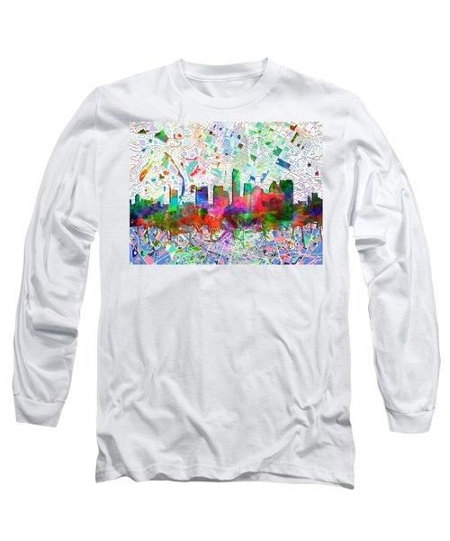 Austin Texas Abstract Panorama 7 Long Sleeve T-Shirt by Bekim Art