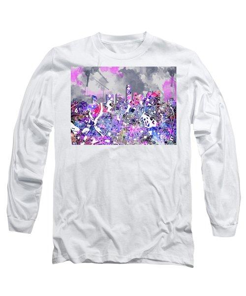 Austin Texas Watercolor Panorama2 Long Sleeve T-Shirt by Bekim Art