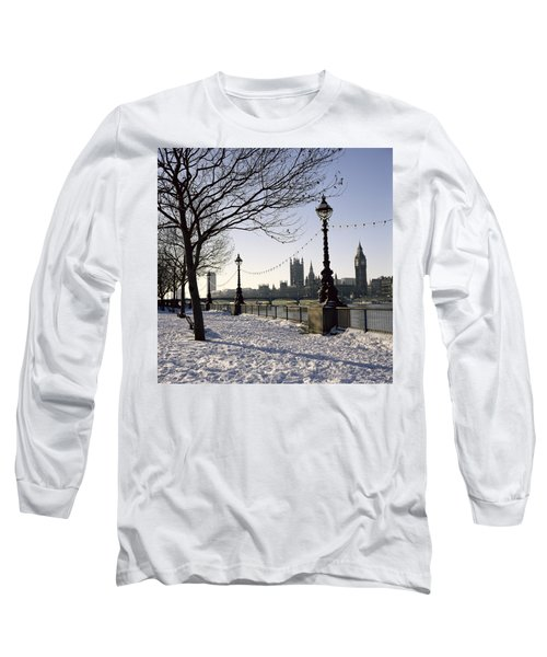 Big Ben Westminster Abbey And Houses Of Parliament In The Snow Long Sleeve T-Shirt by Robert Hallmann