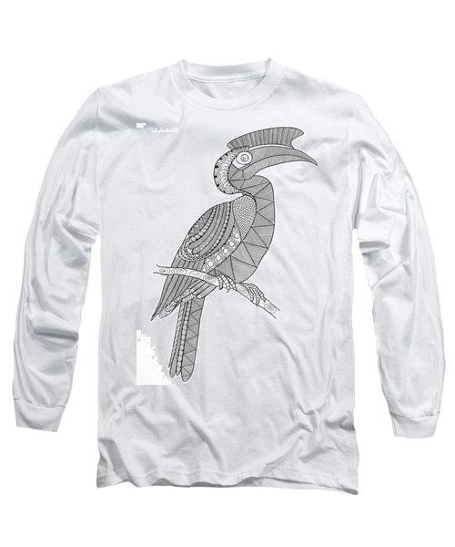 Bird Hornbill Long Sleeve T-Shirt by Neeti Goswami