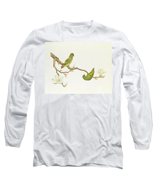 Blue Crowned Parakeet Hannging On A Magnolia Branch Long Sleeve T-Shirt by Chinese School