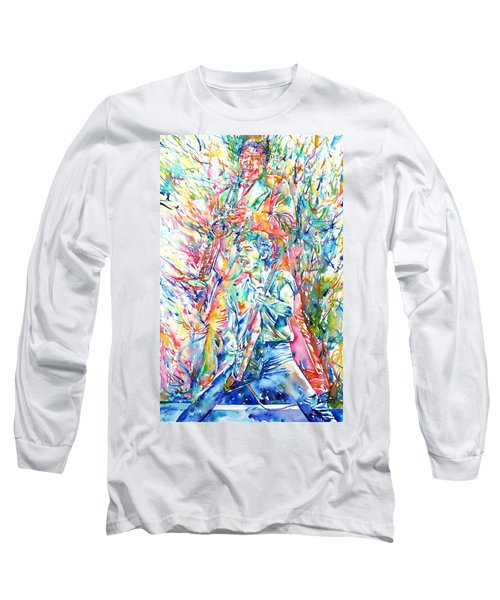 Bruce Springsteen And Clarence Clemons Watercolor Portrait Long Sleeve T-Shirt by Fabrizio Cassetta