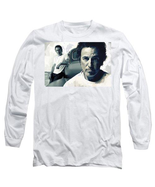 Bruce Springsteen The Boss Artwork 1 Long Sleeve T-Shirt by Sheraz A