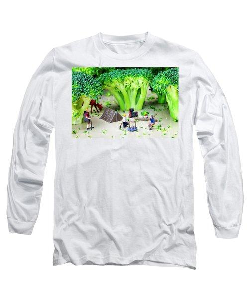 Camping Among Broccoli Jungles Miniature Art Long Sleeve T-Shirt by Paul Ge