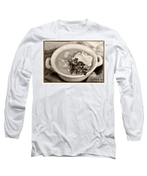 Cauliflower Soup Sepia Tone Long Sleeve T-Shirt by Iris Richardson
