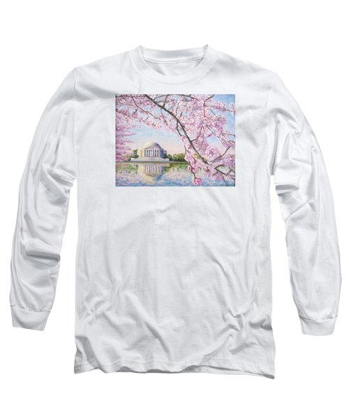 Jefferson Memorial Cherry Blossoms Long Sleeve T-Shirt by Patty Kay Hall