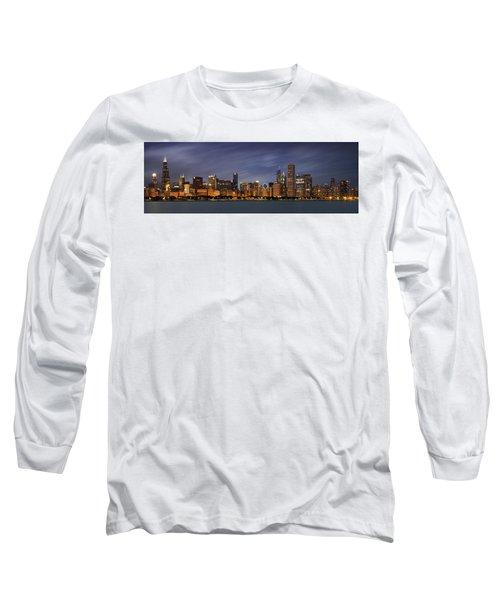 Chicago Skyline At Night Color Panoramic Long Sleeve T-Shirt by Adam Romanowicz