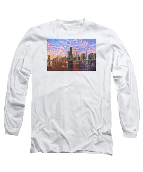 Chicago Skyline - Lake Michigan Long Sleeve T-Shirt by Mike Rabe