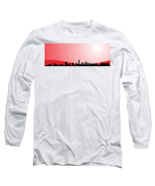 Cityscapes - Miami Skyline In Black On Red Long Sleeve T-Shirt by Serge Averbukh