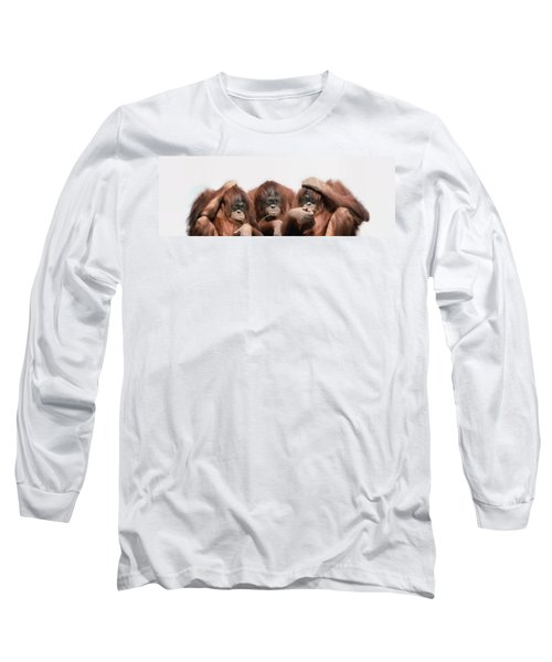 Close-up Of Three Orangutans Long Sleeve T-Shirt by Panoramic Images