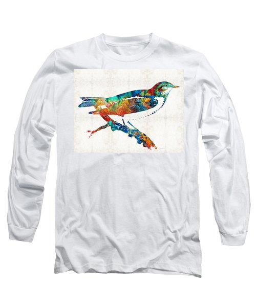 Colorful Bird Art - Sweet Song - By Sharon Cummings Long Sleeve T-Shirt by Sharon Cummings