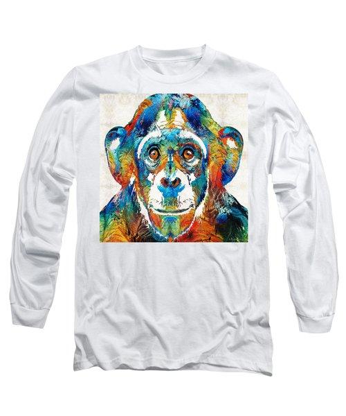 Colorful Chimp Art - Monkey Business - By Sharon Cummings Long Sleeve T-Shirt by Sharon Cummings