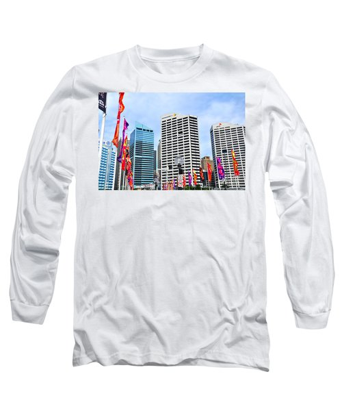 Colorful Flags Lead To City By Kaye Menner Long Sleeve T-Shirt by Kaye Menner