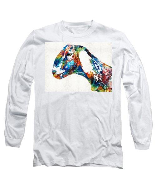 Colorful Goat Art By Sharon Cummings Long Sleeve T-Shirt by Sharon Cummings