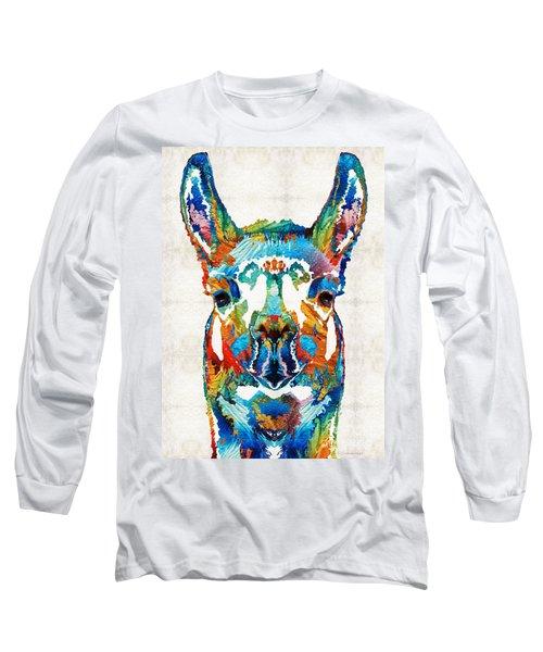 Colorful Llama Art - The Prince - By Sharon Cummings Long Sleeve T-Shirt by Sharon Cummings