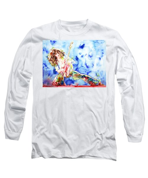 Eddie Van Halen Playing The Guitar.1 Watercolor Portrait Long Sleeve T-Shirt by Fabrizio Cassetta
