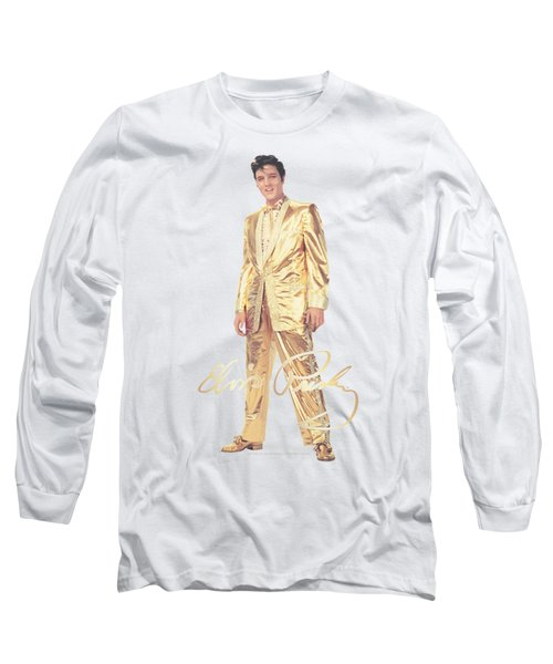 Elvis - Gold Lame Suit Long Sleeve T-Shirt by Brand A