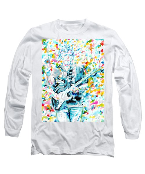 Eric Clapton - Watercolor Portrait Long Sleeve T-Shirt by Fabrizio Cassetta