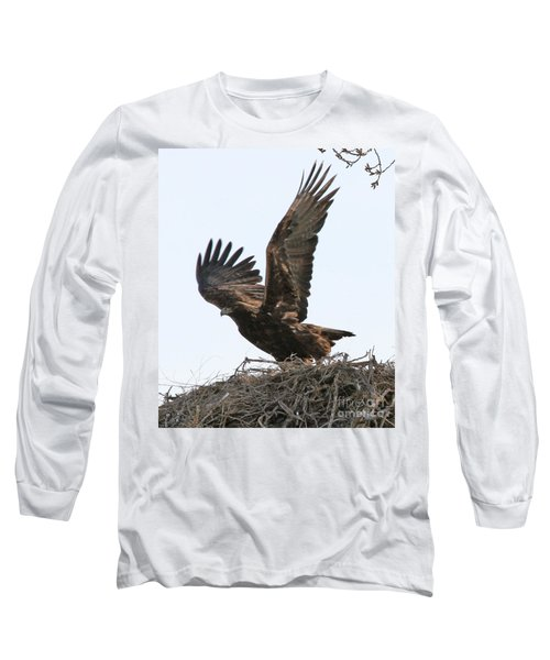 Long Sleeve T-Shirt featuring the photograph Golden Eagle Takes Off by Bill Gabbert