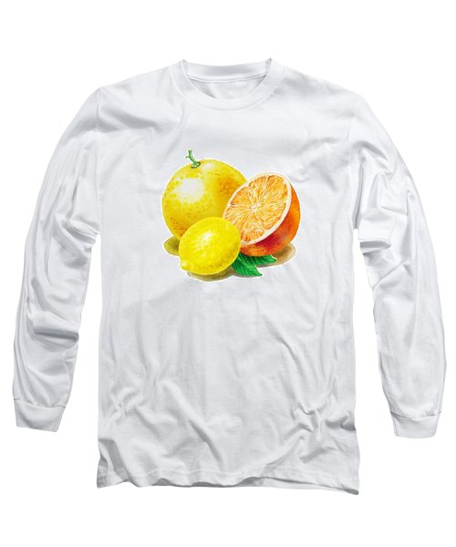 Grapefruit Lemon Orange Long Sleeve T-Shirt by Irina Sztukowski
