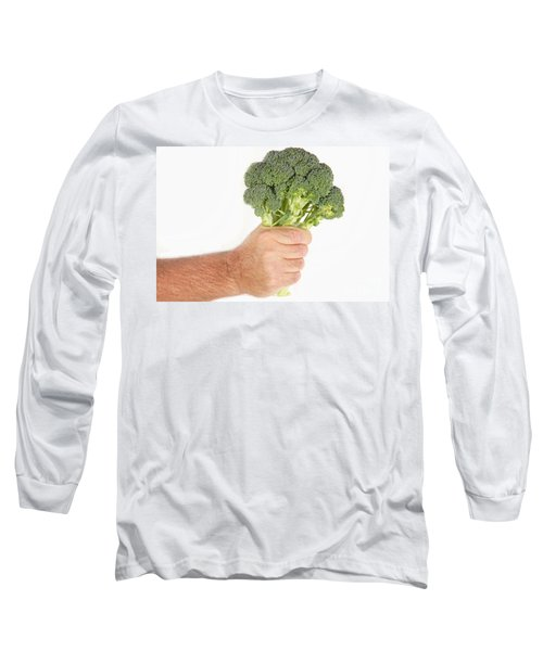 Hand Holding Broccoli Long Sleeve T-Shirt by James BO  Insogna