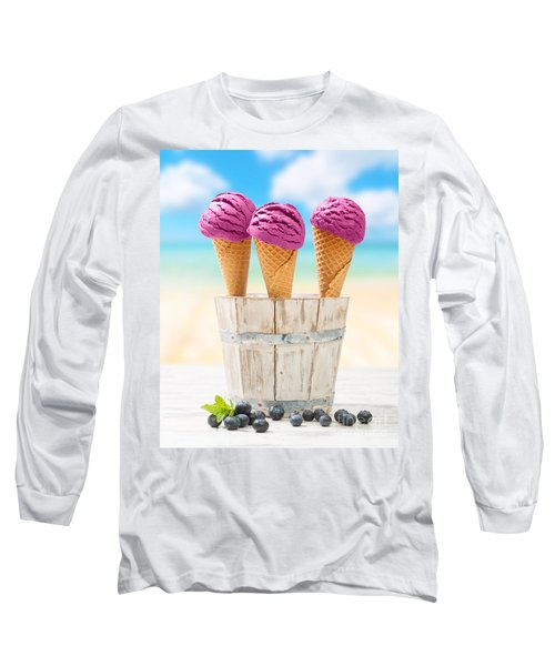Icecreams With Blueberries Long Sleeve T-Shirt by Amanda Elwell