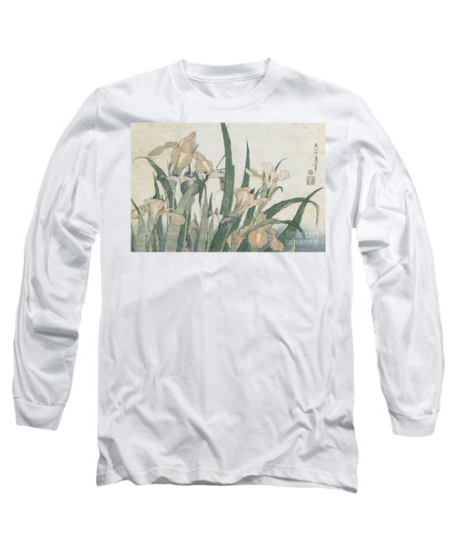 Iris Flowers And Grasshopper Long Sleeve T-Shirt by Hokusai