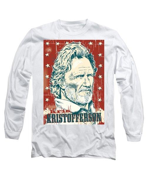 Kris Kristofferson Pop Art Long Sleeve T-Shirt by Jim Zahniser