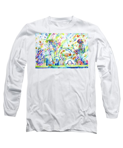 Led Zeppelin Live Concert - Watercolor Painting Long Sleeve T-Shirt by Fabrizio Cassetta