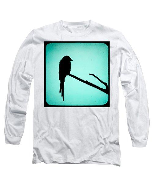 Magpie Shrike Silhouette Long Sleeve T-Shirt by Gary Heller