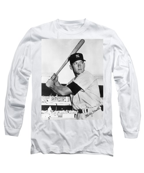 Mickey Mantle At-bat Long Sleeve T-Shirt by Gianfranco Weiss
