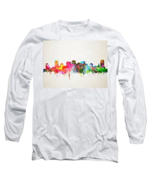 Nashville Skyline Watercolor 9 Long Sleeve T-Shirt by Bekim Art