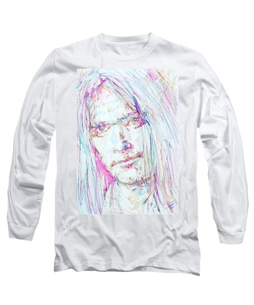 Neil Young - Colored Pens Portrait Long Sleeve T-Shirt by Fabrizio Cassetta