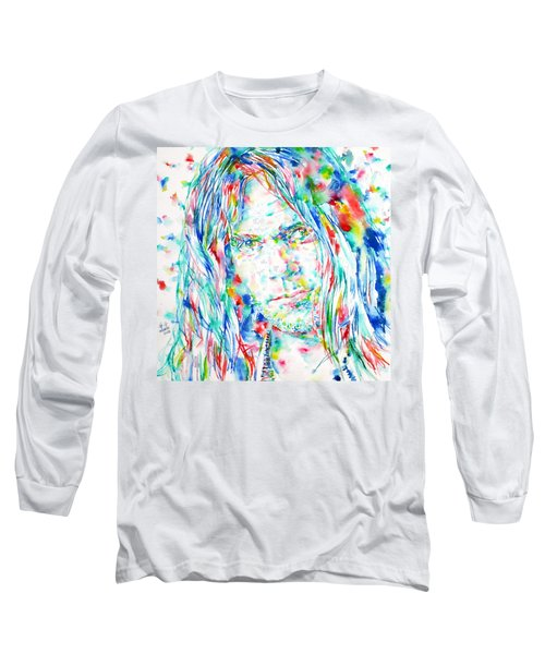 Neil Young - Watercolor Portrait Long Sleeve T-Shirt by Fabrizio Cassetta
