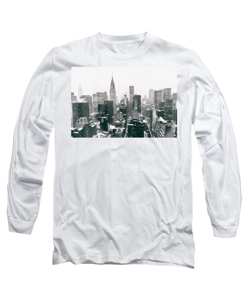 New York City - Snow-covered Skyline Long Sleeve T-Shirt by Vivienne Gucwa