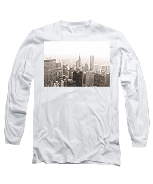 New York Winter - Skyline In The Snow Long Sleeve T-Shirt by Vivienne Gucwa