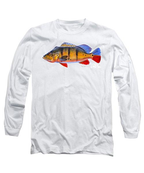 Peacock Bass Long Sleeve T-Shirt by Carey Chen
