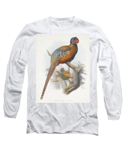 Phasianus Elegans Elegant Pheasant Long Sleeve T-Shirt by Daniel Girard Elliot