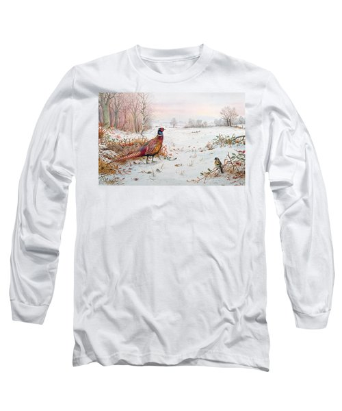 Pheasant And Bramblefinch In The Snow Long Sleeve T-Shirt by Carl Donner