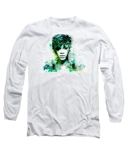 Rihanna 5 Long Sleeve T-Shirt by Bekim Art