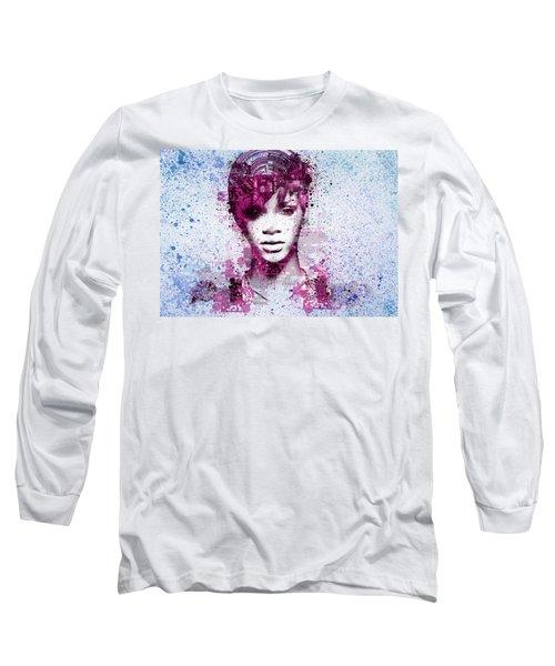 Rihanna 8 Long Sleeve T-Shirt by Bekim Art