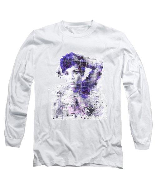 Rihanna Long Sleeve T-Shirt by Bekim Art