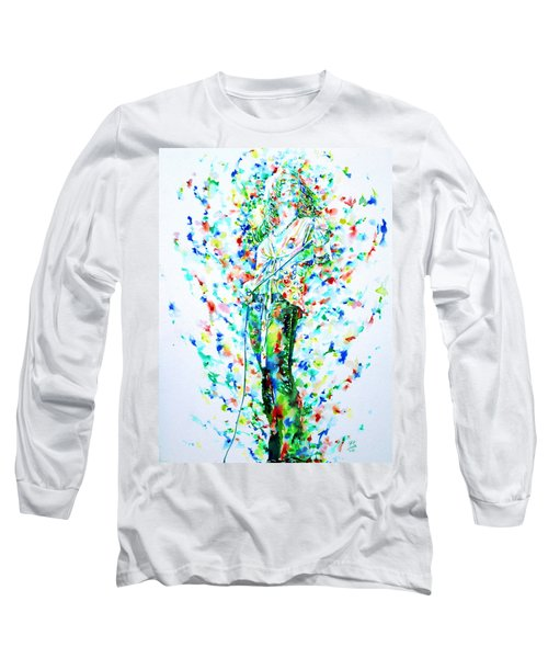Robert Plant Singing - Watercolor Portrait Long Sleeve T-Shirt by Fabrizio Cassetta