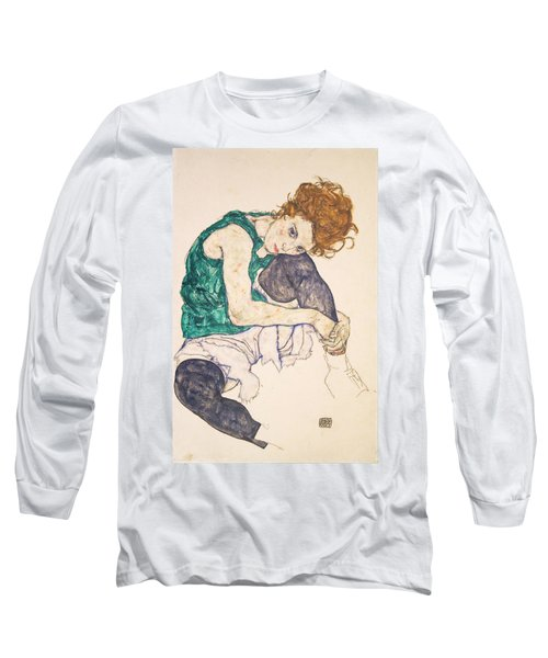 Seated Woman With Legs Drawn Up. Adele Herms Long Sleeve T-Shirt by Egon Schiele