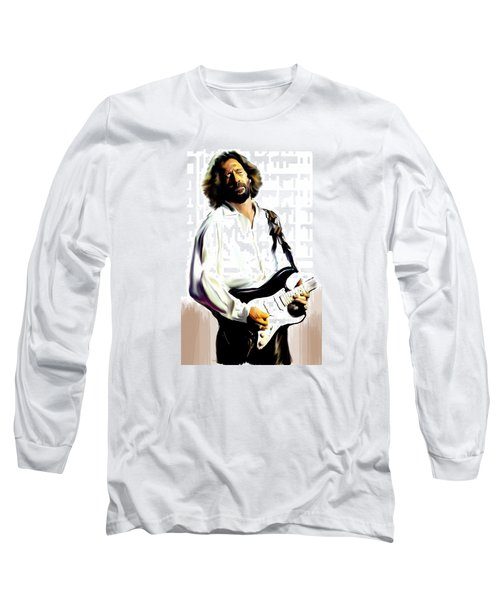 Slow Hand  Eric Clapton Long Sleeve T-Shirt by Iconic Images Art Gallery David Pucciarelli