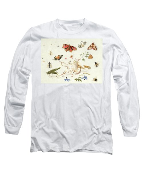 Study Of Insects And Flowers Long Sleeve T-Shirt by Ferdinand van Kessel