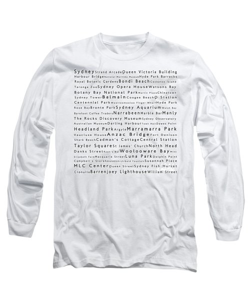 Sydney In Words White Long Sleeve T-Shirt by Sabine Jacobs