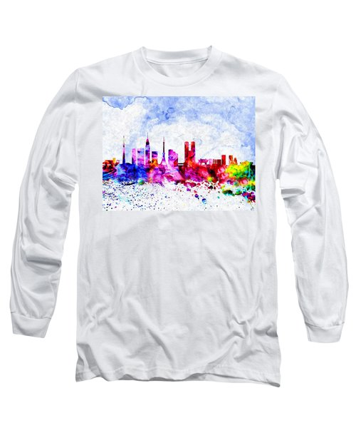Tokyo Watercolor Long Sleeve T-Shirt by Daniel Janda