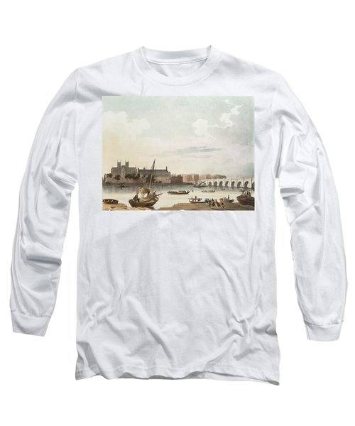 View Of Westminster And The Bridge Wc On Paper Long Sleeve T-Shirt by English School
